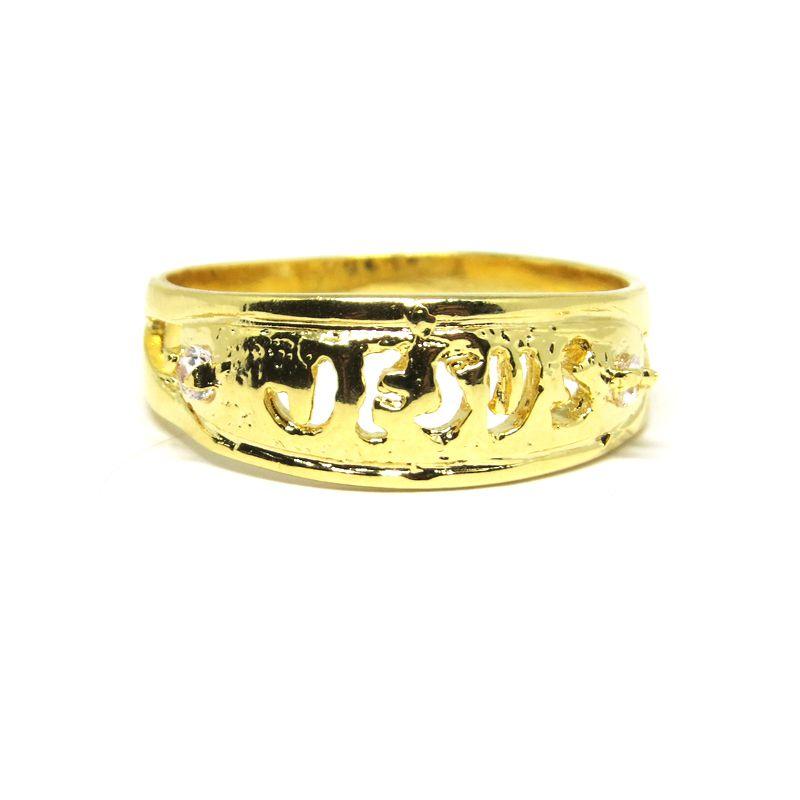 Anel Jesus folheado em ouro 18k - Diferencial Jóias - Colares, Anéis ... 6de1f64396