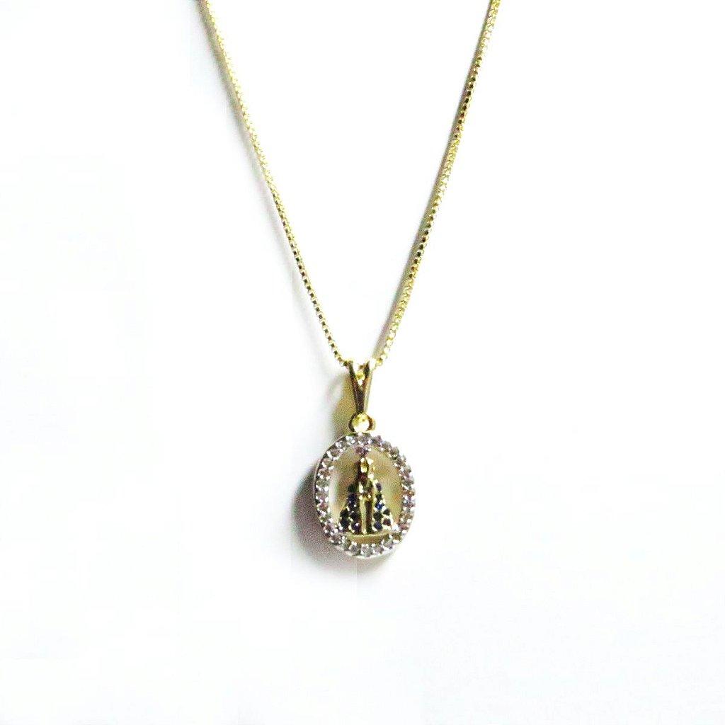 73f96dd31c8cd Colar Nossa Senhora Aparecida com zirconia Folheado em Ouro 18k ...