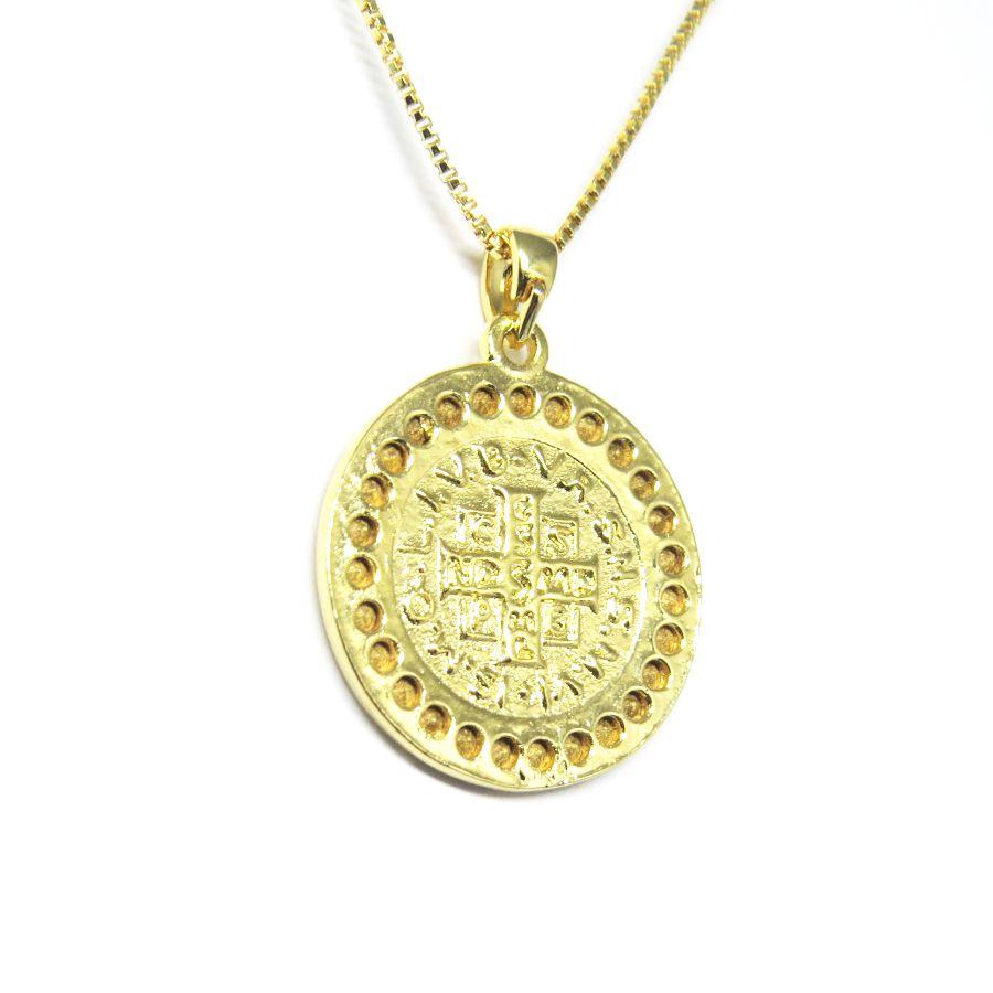 ... Colar medalha São Bento com zirconia folheado em ouro 18k - Imagem 3 624c273704
