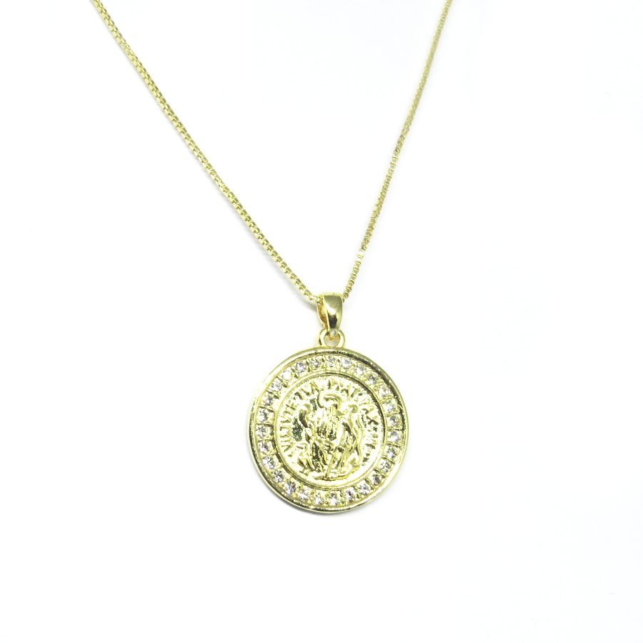 Colar medalha São Bento com zirconia folheado em ouro 18k ... 21ae7437d8