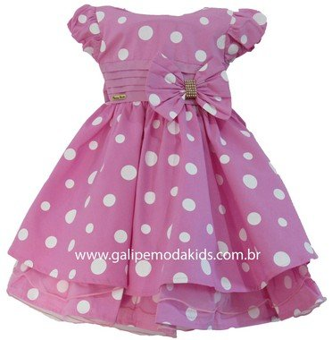Vestido Infantil Minnie Rosa Galipe Moda Kids Vestido