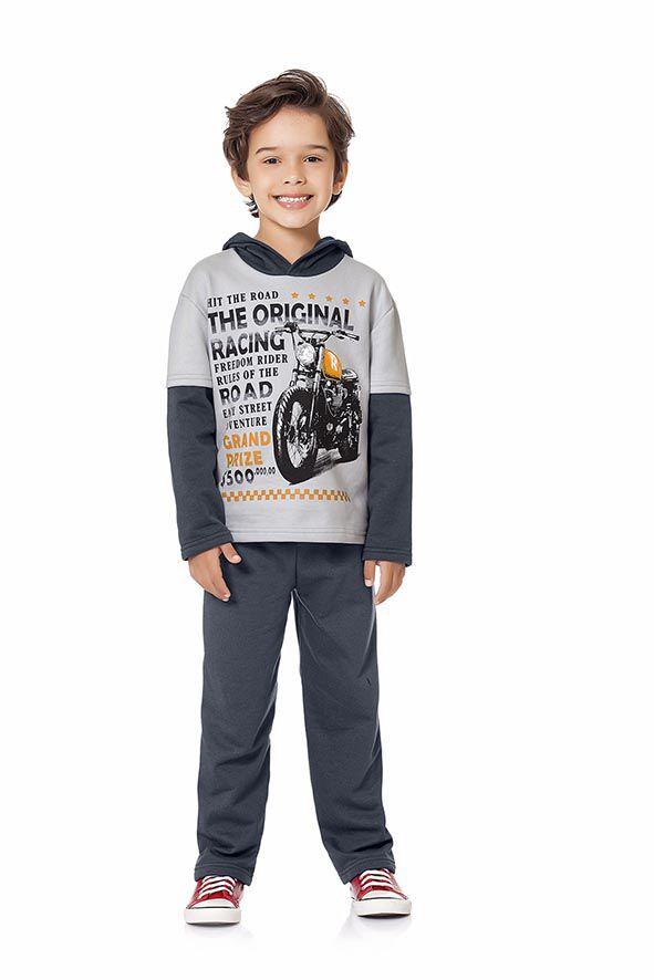 Conjunto moletom capuz moto - Nináh Kids 1f74300653c