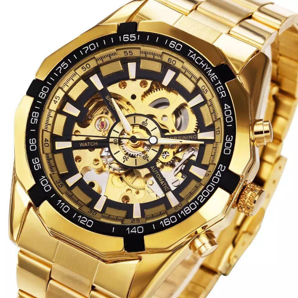 f21e3f48dc3 ... Relógio Dourado Winner - Imagem 2 ...