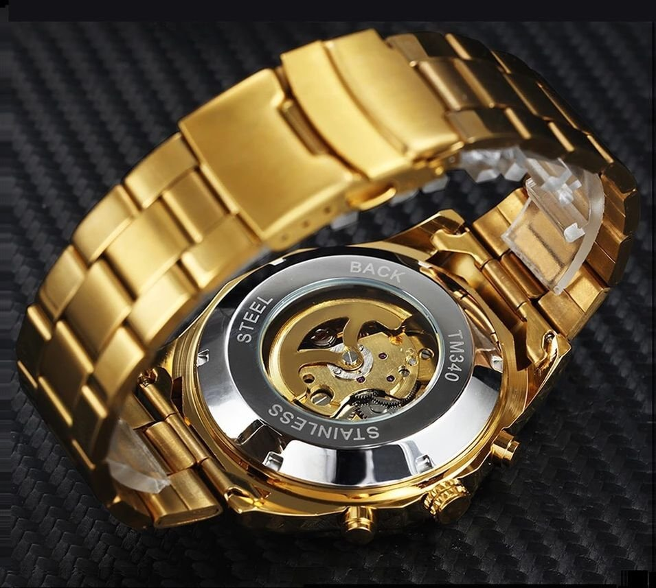 114ee0219c0 ... Relógio Dourado Winner - Imagem 3