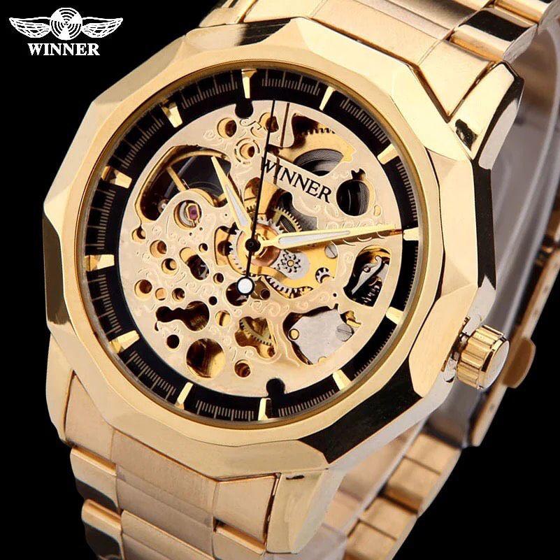 36d182aca94 ... Relógio Dourado Winner - Imagem 2