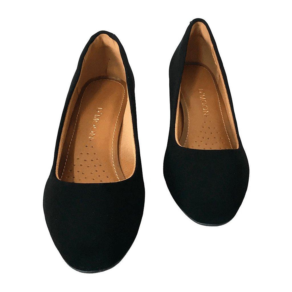 e76338b674 Sapato Feminino Dmoon Nobuck Preto - Loja de Calçados Feminino ...