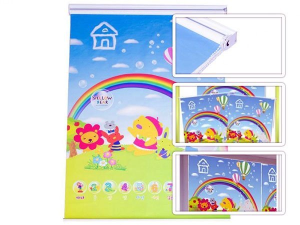 persiana para quarto infantil arco-iris unissex 125cm x 185cm