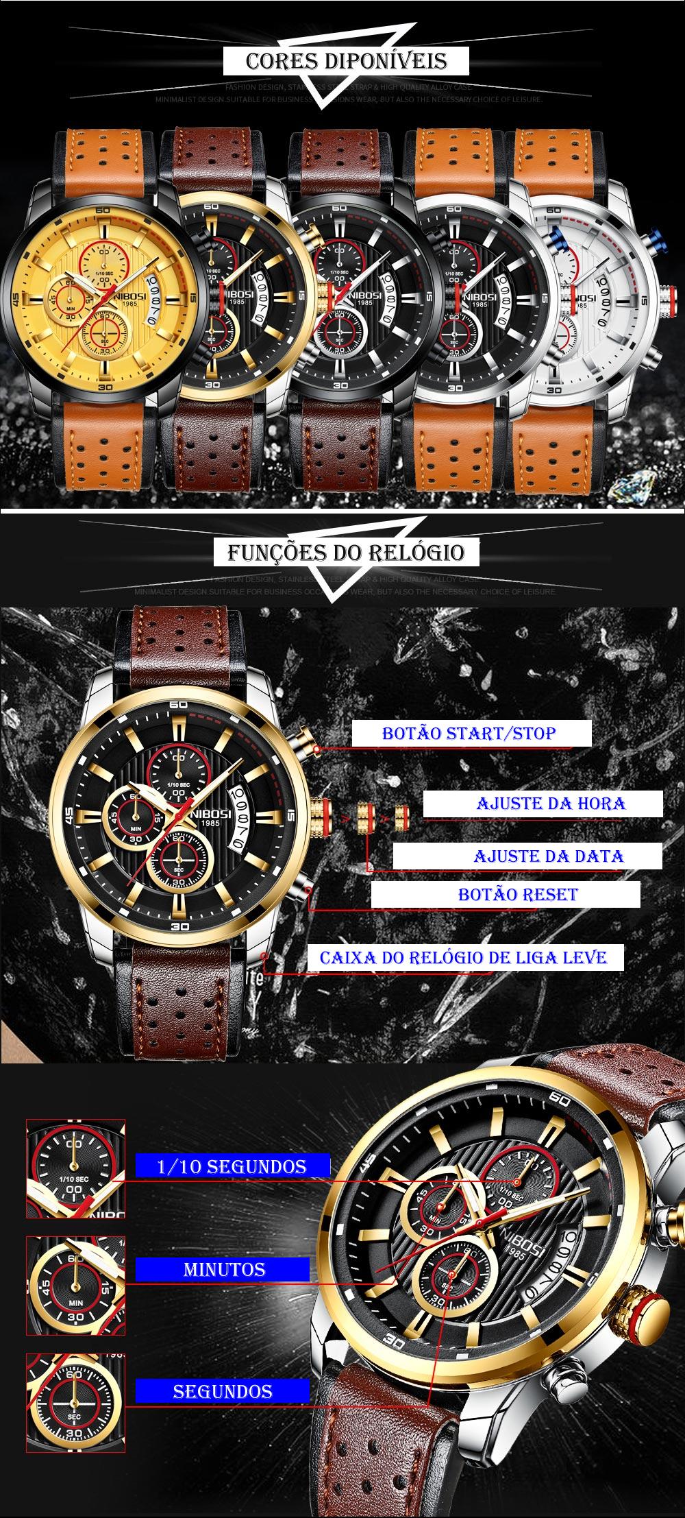 Funções do Relógio NIBOSI 2372