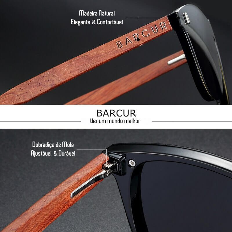 Óculos de Sol Design em Madeira UV400 Unissex