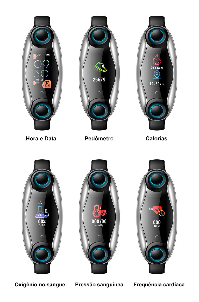 Pulseira Relógio Inteligente + Fone de Ouvido Bluetooth 5.0 1