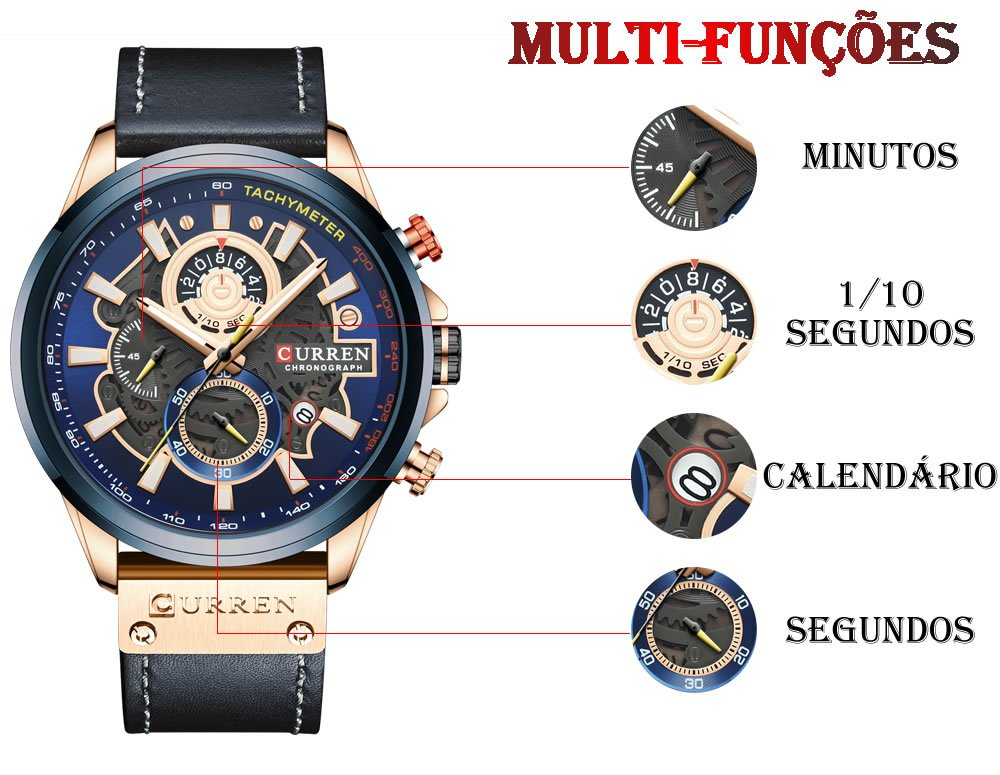 Relógio Design Criativo Esporte Curren 8380 1