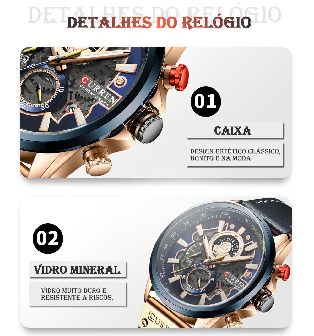 Relógio Design Criativo Esporte Curren 8380 3