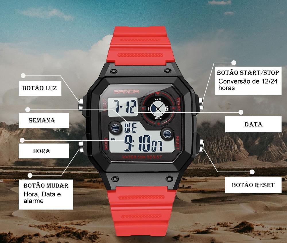 Relógio Digital Esporte Sanda 418 1