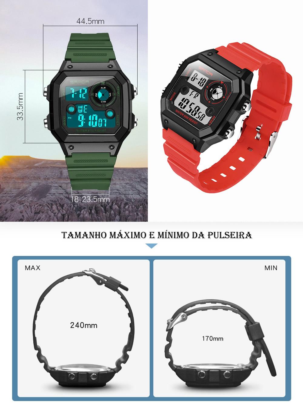 Relógio Digital Esporte Sanda 418 2