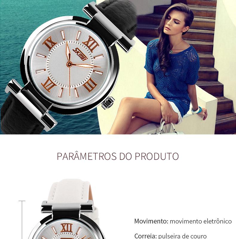 Relógio Feminino Pulseira de Couro Skmei 9075