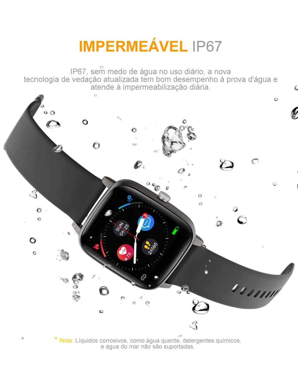 Relógio Inteligente Com Termômetro Corporal Impermeável IP67