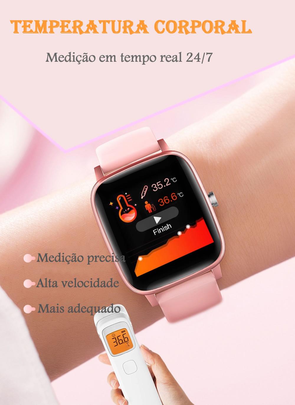Relógio Inteligente Com Termômetro Corporal Medição