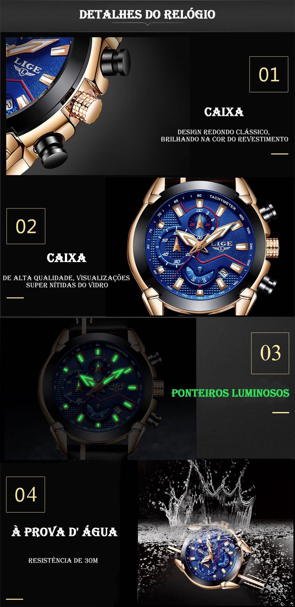 Relógio LIGE 9869 Detalhes do Relógio