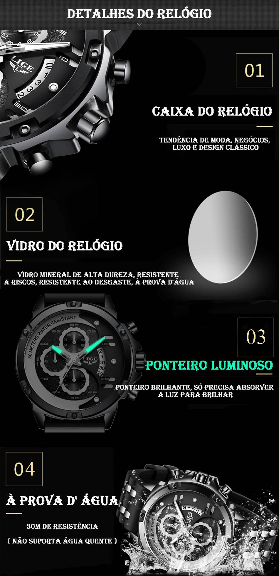 Relógio LIGE 9906 Empire Vip Detalhes