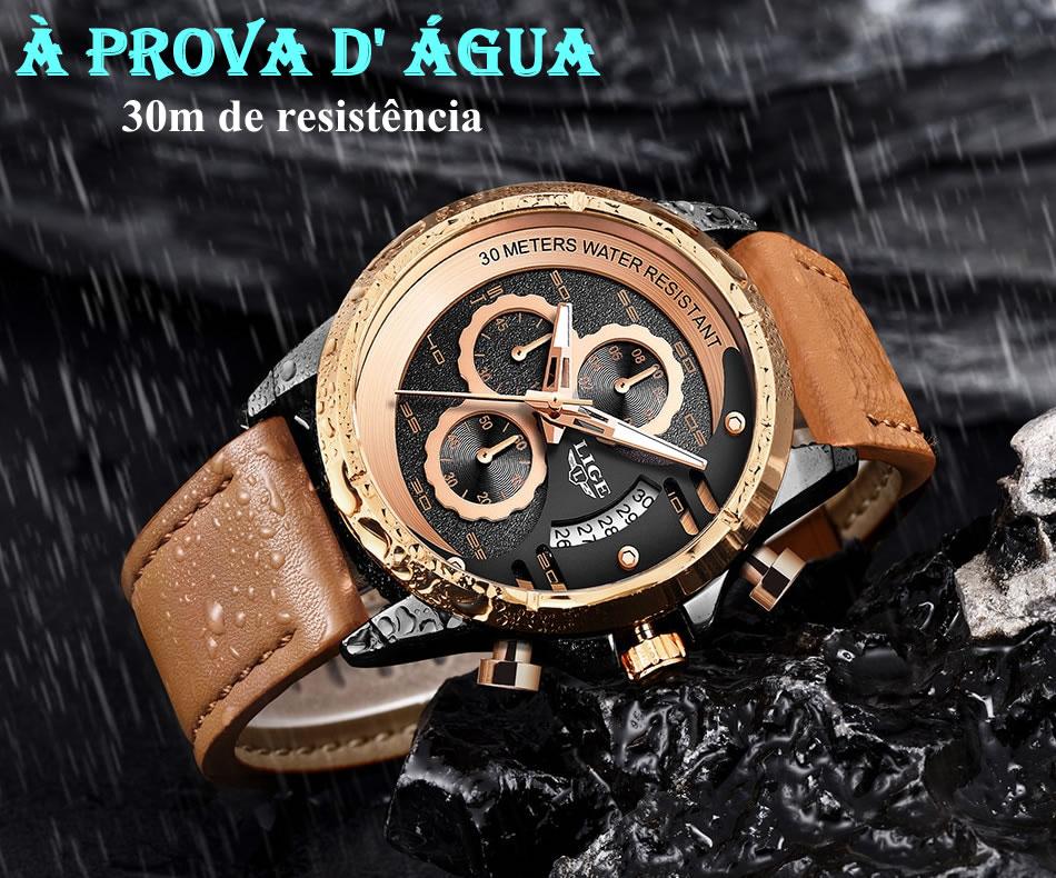 Relógio LIGE 9947 Empire Gold À Prova D' Água