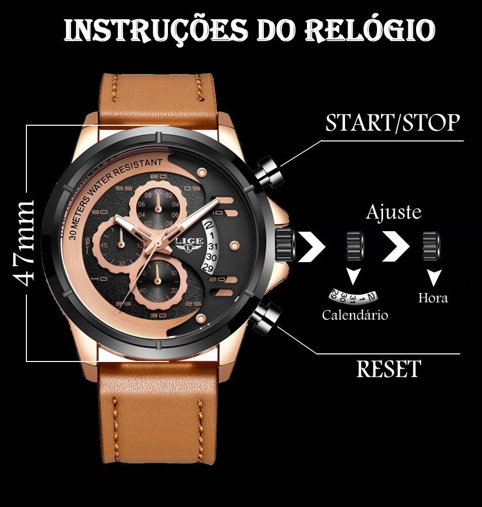 Relógio LIGE 9947 Empire Gold Detalhes