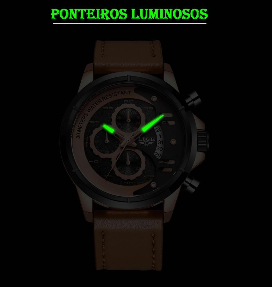 Relógio LIGE 9947 Empire Gold Ponteiros Luminosos