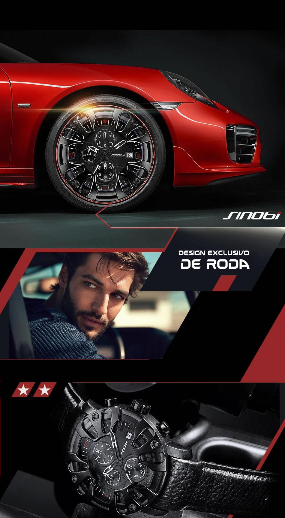 Relógio Masculino Design Criativo Esportivo 9760