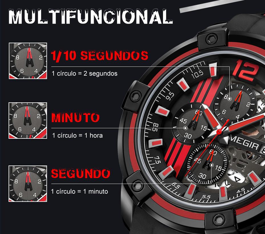 Relógio Masculino Esportivo MEGIR 2097 Multfuncional