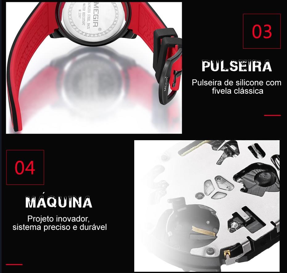 Relógio Masculino Esportivo MEGIR 2097 Pulseira e Máquina