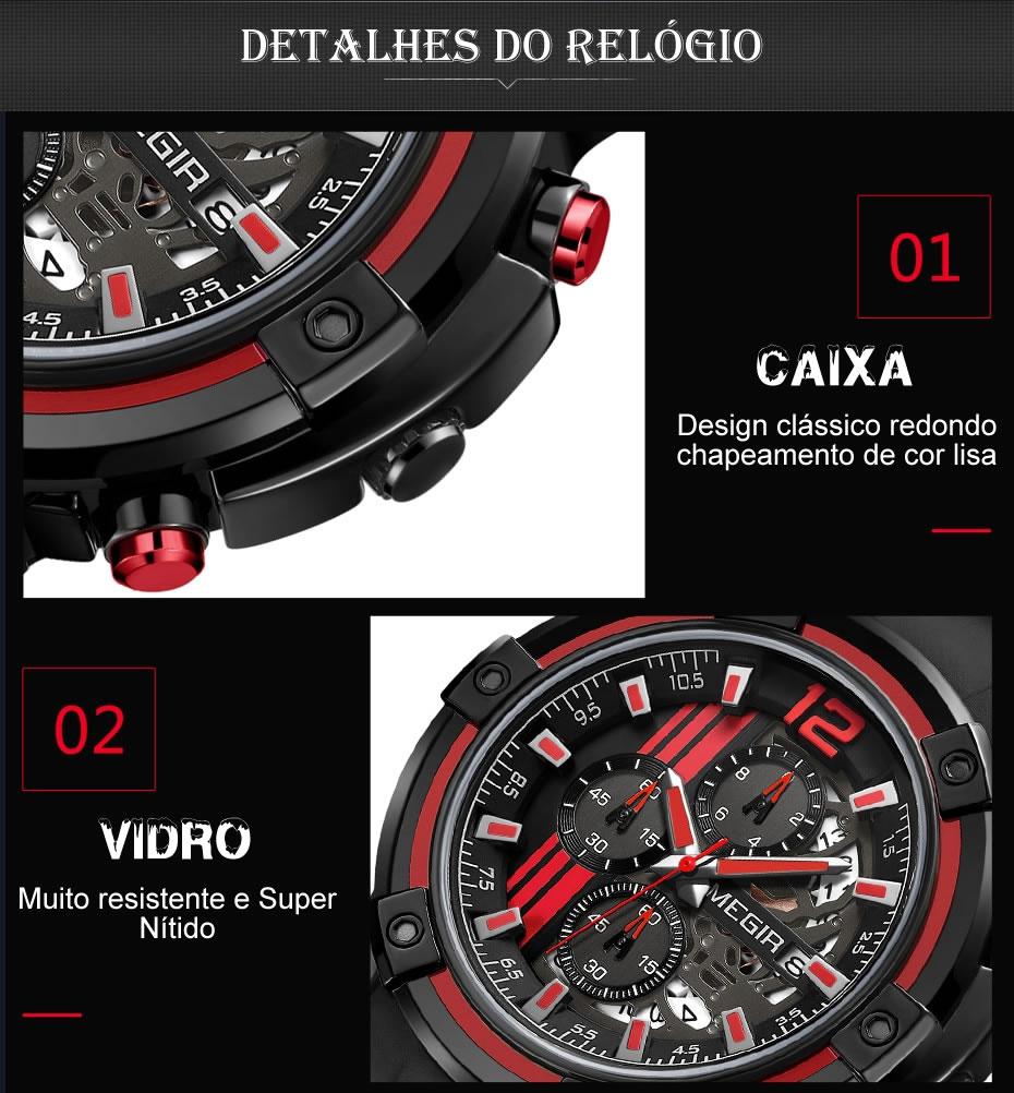 Relógio Masculino Esportivo MEGIR 2097 Vidro do Relógio