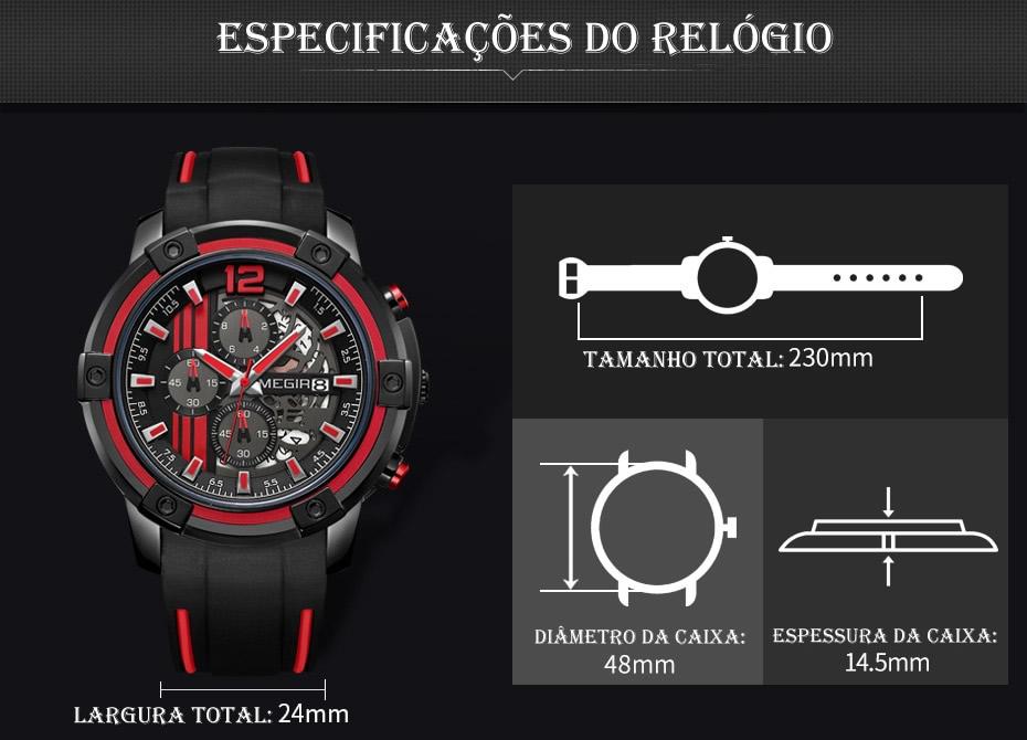 Relógio Masculino Esportivo MEGIR 2097