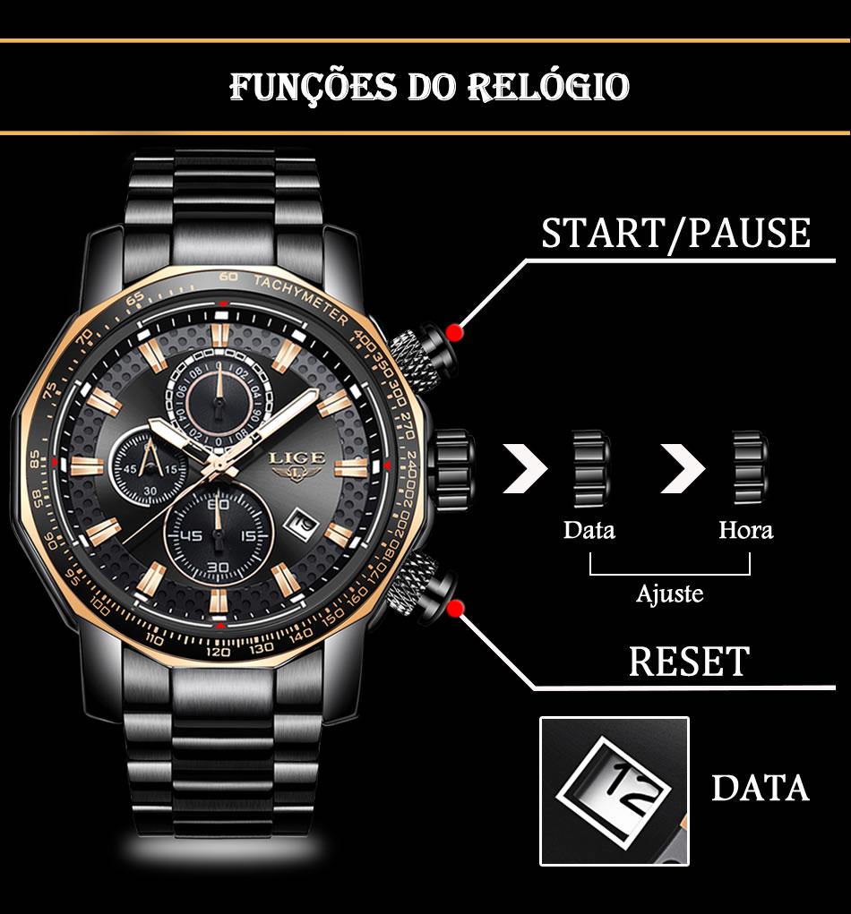 Relógio Masculino Lige 9902 Funções do Relógio