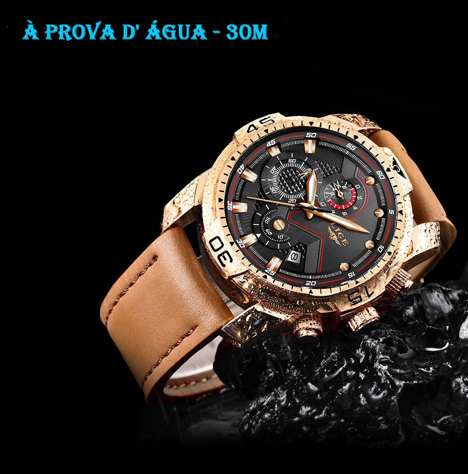 Relógio Masculino Lige 9924 À Prova D' Água
