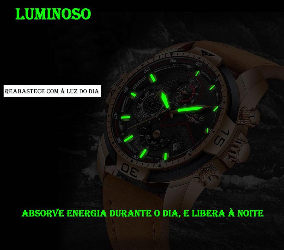 Relógio Masculino Lige 9924 Luminoso
