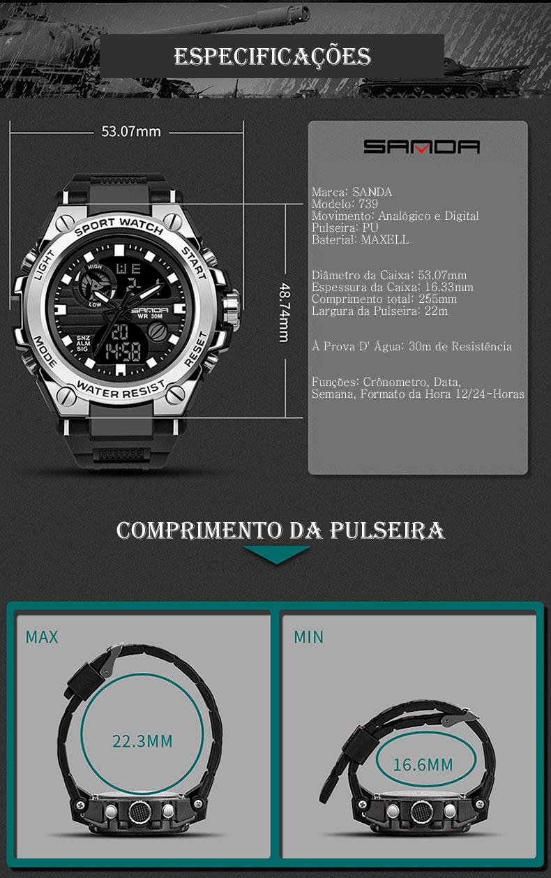 Relógio Masculino Militar Esporte SANDA 739