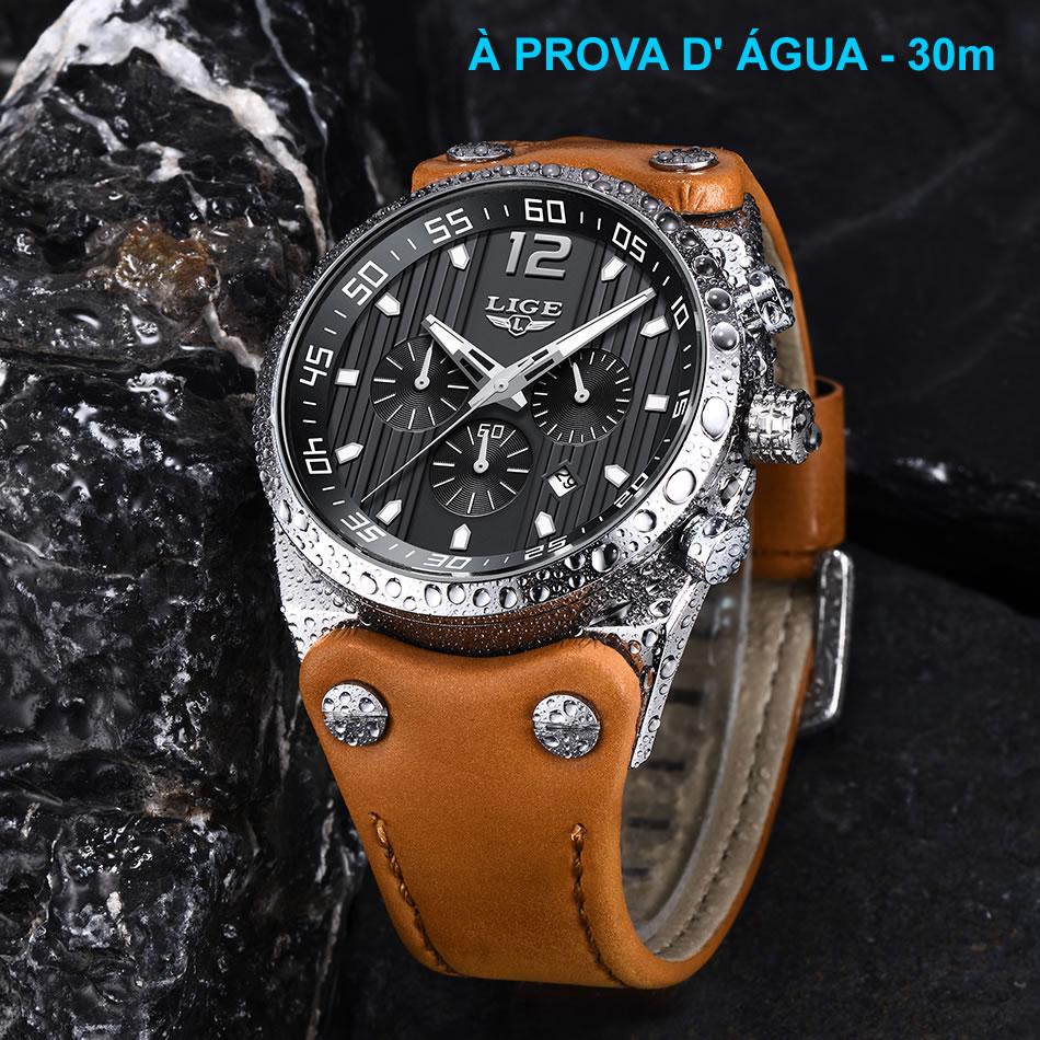 Relógio Masculino Pulseira em Couro 9890 À Prova D' Água