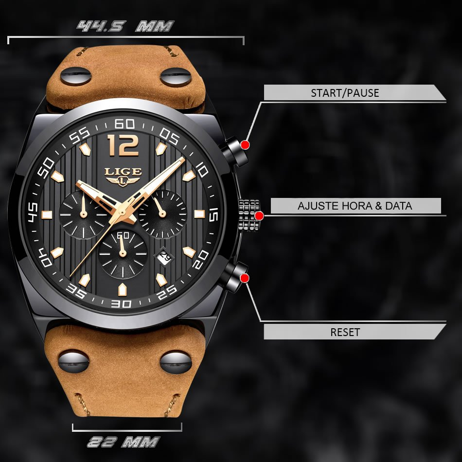 Relógio Masculino Pulseira em Couro 9890 Funções