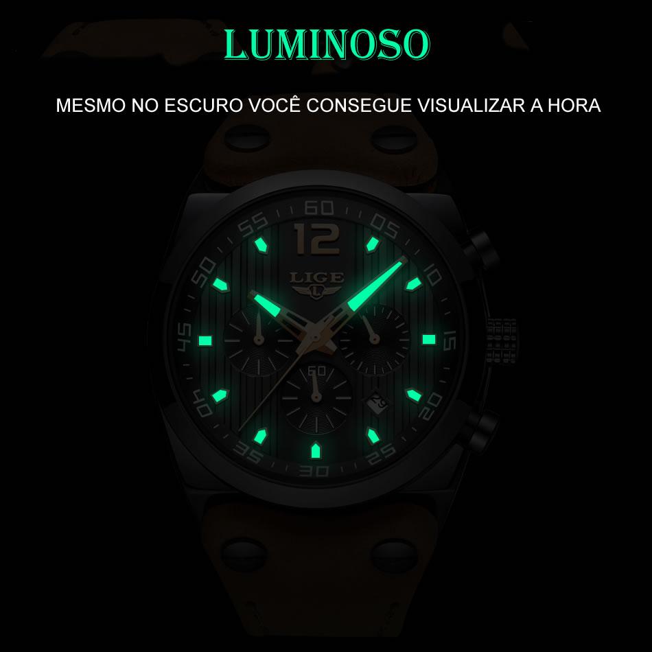 Relógio Masculino Pulseira em Couro 9890 Luminoso