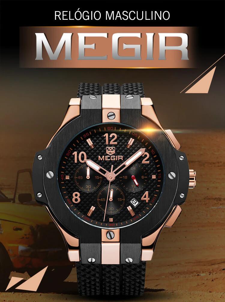 Relógio Masculino Quartzo ALPHA BLACK MEGIR 2050