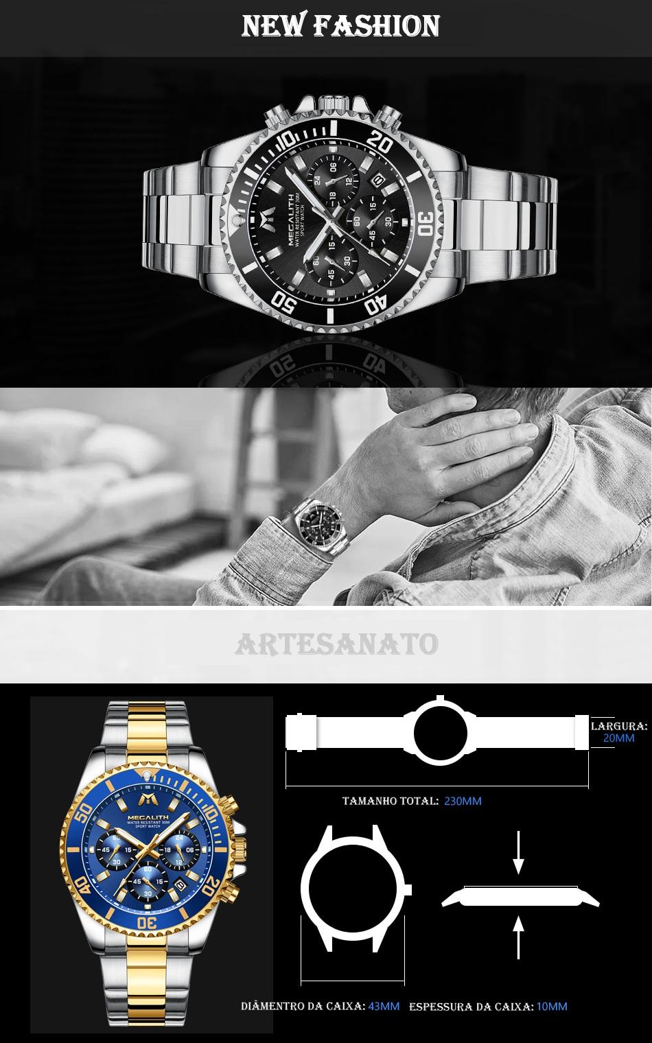 Relógio Megalith 8046 New Fashion