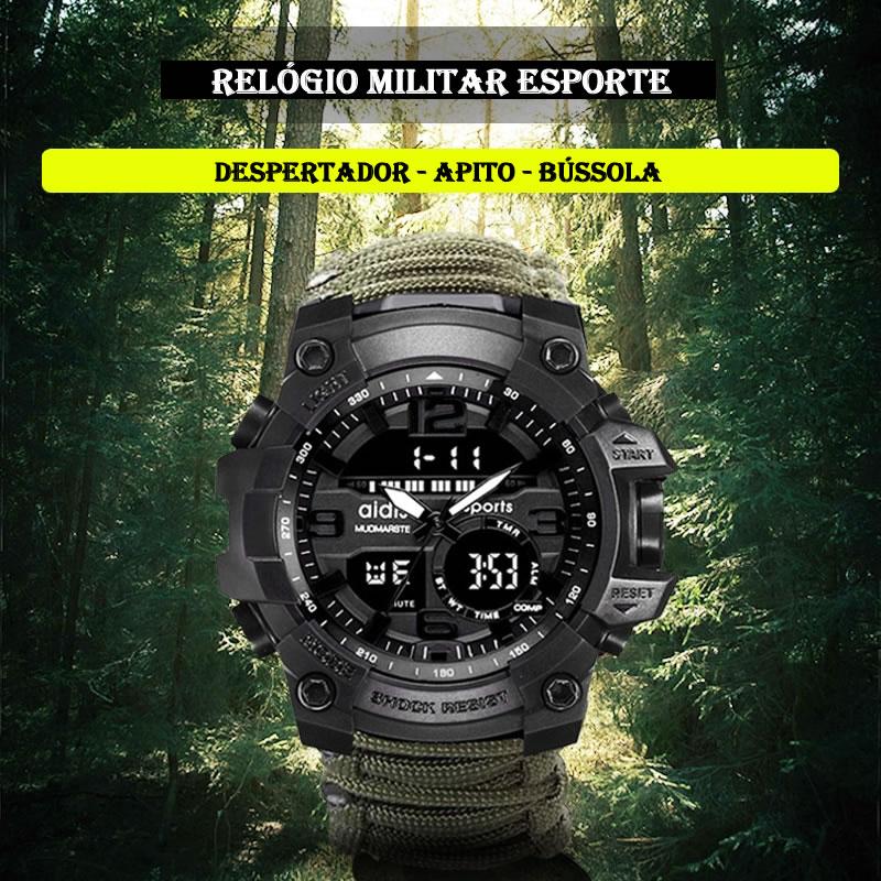 Relógio Militar Esporte Com Bússola e Apito