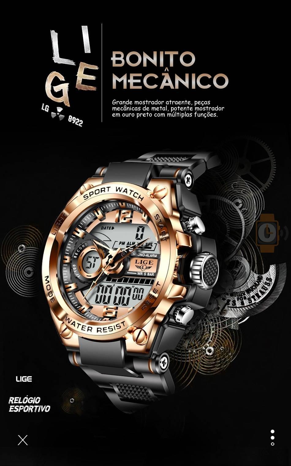 Relógio Militar Super Choque Lige 8922 Original