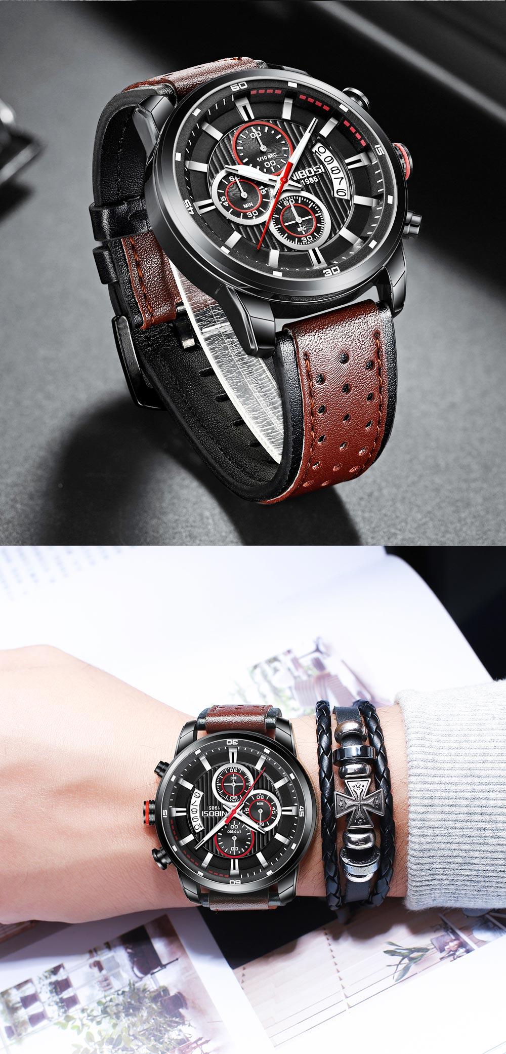 Relógio Pulseira de Couro NIBOSI 2372