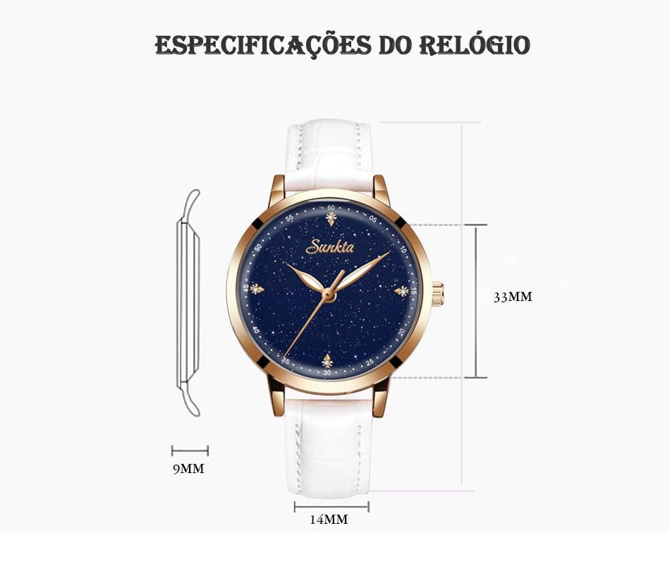 Relógio Sunkta Luxury Estrelado Pulseira de Couro Especificação