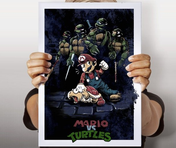 Poster Mario x Tartarugas