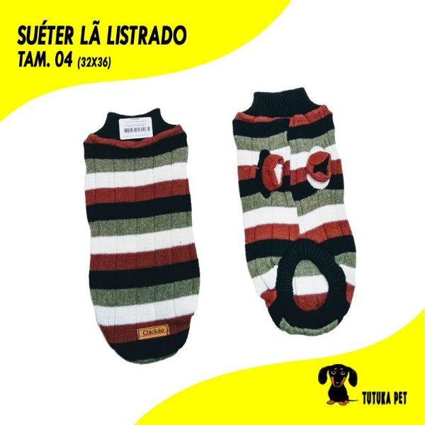 Suéter de Lã Listrado Tam.04 - ClubPet