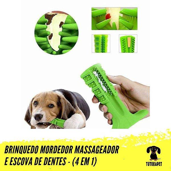 Brinquedo Mordedor Massageador e Escova de Dentes Para Pets - Pet Brush