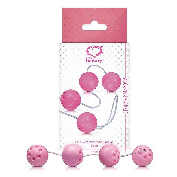 Conjunto Pompoar com 4 bolas 3,4 cm - Linha Pompoar Sexy Fantasy - Erótika Store
