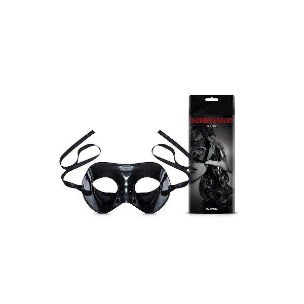 Máscara de Acrílico em Vinil Preta com Amarras Ajustáveis Submission Linha Sado Sexy Fantasy - Erótika Store