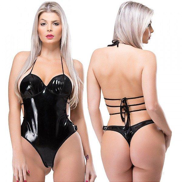 Body com Bojo em Vinil Preto Submission Linha Sado Sexy Fantasy - Erótika Store